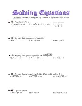 Solving Equations - A Sampling of Five Techniques