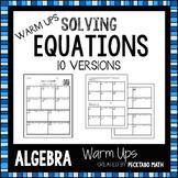 Solving Equations ALGEBRA Warm Ups with QR codes (10 versions)