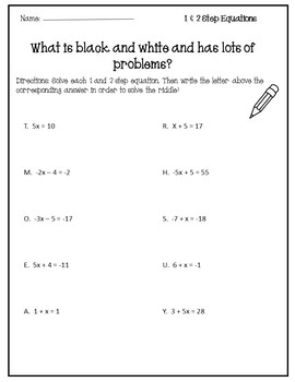 Solving Equations Activity {Solving One Step Equations Worksheet ...
