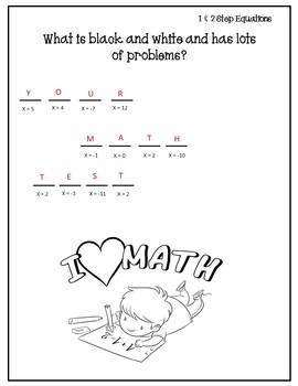 Solving Equations Activity {Solving One Step Equations Worksheet} {Algebra 1}