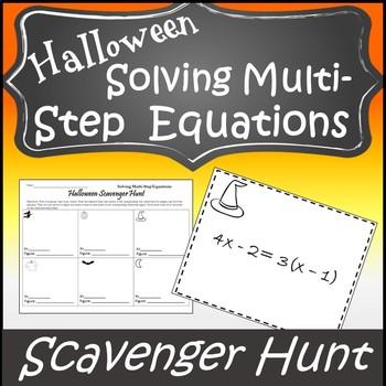 Halloween Algebra Activity {Halloween Algebra 1 and 2 Halloween Scavenger Hunt}