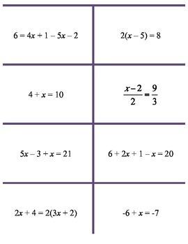 Solving Equations (Algebra 1 or Algebra 2) CRAZY Bingo!