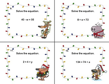 Solving Equations- All Four Operations-120 Task Cards- Grade 6- Holiday Fun