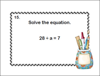 Solving  Equations- All Four Operations- Grade 6- 120 Math Task Cards-School 2
