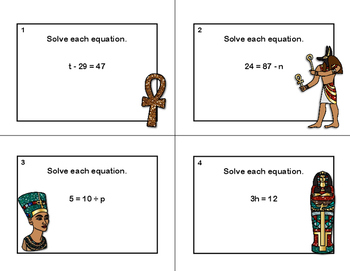 Solving Equations- All Four Operations- Grade 6- 24 Free Task Cards- Egypt