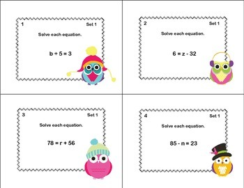 Solving  Equations- All Four Operations- Grade 6-64 Math Christmas Task Cards