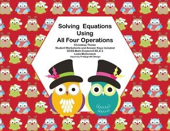Solving  Equations- All Four Operations- Grade 6-64 Math C