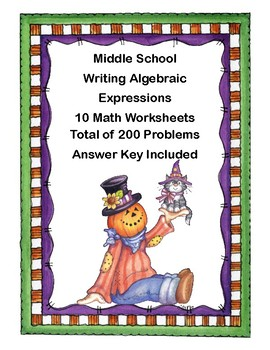 Solving Equations- All Four Operations- Grade 6-Halloween Theme-Worksheets