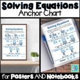 Solving Equations Anchor Chart Interactive Notebooks Poster | Distance Learning