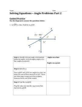 Solving Equations - Angle Problems Part 2 Practice Worksheet