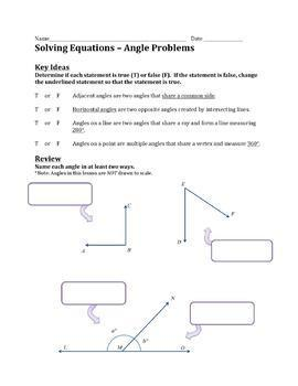 Solving Equations - Angle Problems Practice Worksheet