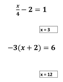 Solving Equations Around the Room Activity