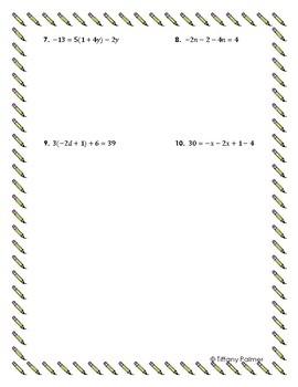 Solving Equations Assessment