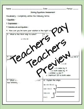 Solving Equations - Assessment/Test