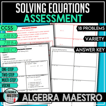 Solving Equations - Assessment/Test