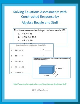 Solving Equations Assessments
