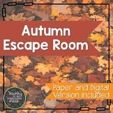 Solving Equations Autumn Math Escape Room--Paper and Digit