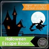 Solving Equations Halloween Math Escape Room--Paper and Di