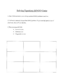 Solving Equations BINGO