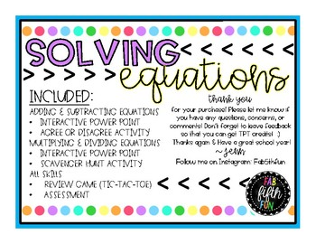 Solving Equations BUNDLE