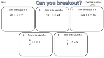 Solving Equations –  Breakout Bundle with Google Forms!