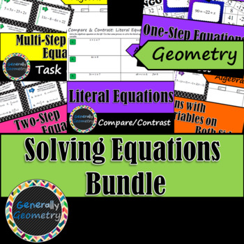 Equations Bundle: One-Step, Two-Step, Multi-Step, Variables Both Sides, Literal