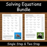Solving Equations Bundle - Animal Riddle Activity!