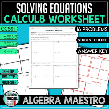 Solving Equations - Calcul8 Worksheet