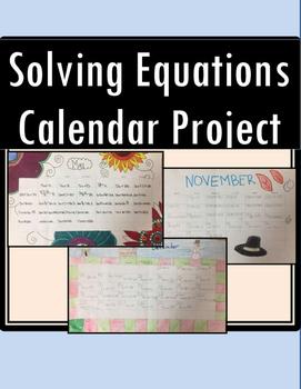 Solving Equations Calendar Project