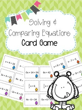 Solving Equations Card Game