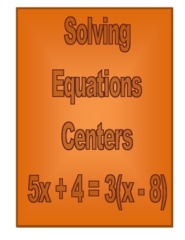 Solving Equations Centers