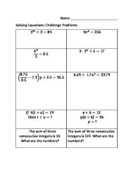 Solving Two Step Equations: Challenge Problems