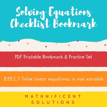 Solving Equations Checklist Bookmark & Practice Set