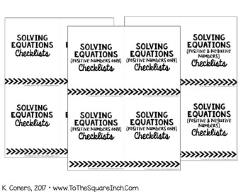 Solving Equations Checklists