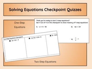 Solving Equations Checkpoint Quizzes