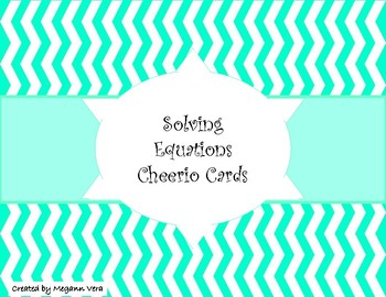 Solving Equations Cheerio cards