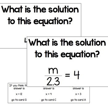 Solving Equations Choose Your Answer Activity