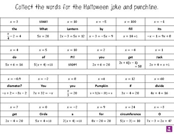 Solving Equations (Collect a Joke) Halloween Special