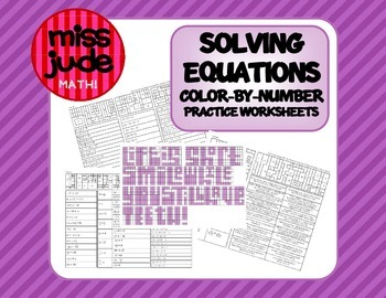 Solving Equations Color-by-number  practice worksheet