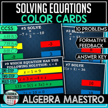 Solving Equations - Color Cards