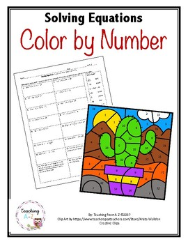 Solving Equations Color by Number Activity