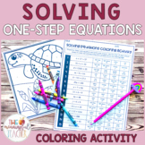 Solving Equations Practice Coloring Activity (one-step)