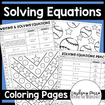 solving equations coloring worksheets 7 ee 4 8 ee 7 by lindsay perro. Black Bedroom Furniture Sets. Home Design Ideas