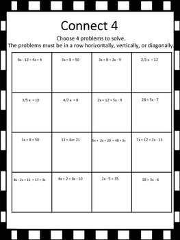 Solving Equations Connect 4