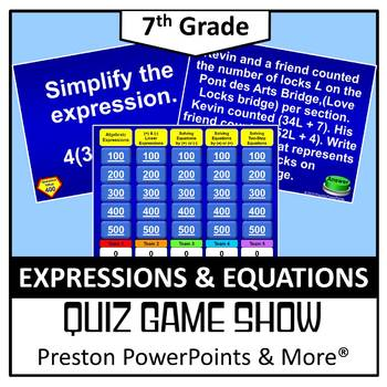 (7th) Quiz Show Game Expressions and Equations in a PowerPoint Presentation