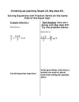 Solving Equations Containing Fractions