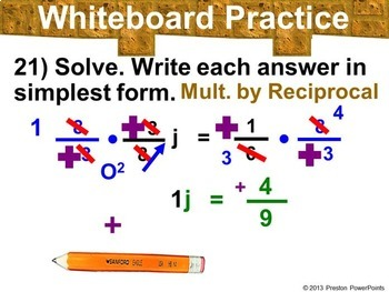 (7th) Solving Equations Containing Fractions in a PowerPoint Presentation