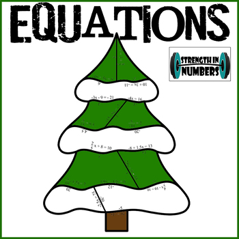 Solving Equations Cooperative Christmas Tree Holiday Puzzle for Display
