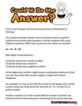 Solving Equations - Could It Be the Answer