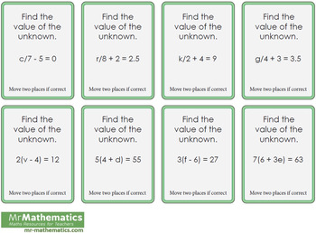 Solving Equations Differentiated Board Game for Grade 6 Math